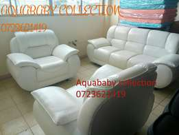Pure white leather ready made five seater