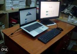 Desk, Laptop and Screen .