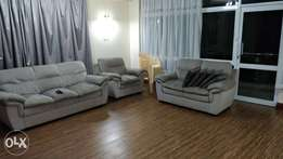 6 seater grey sofas + cushions