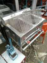 Deep fryer frier double basket gas operated