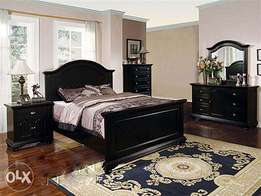 Complete sets of beds with side drawers, dressers and chest of drawers