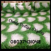 BEAUTIFULLY DESIGNED 7x7 bedsheet GREENY with 4 Pillowcases