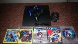 PS3 320 Gig Slimline All Cables and Wires 2 Remotes 5 Games