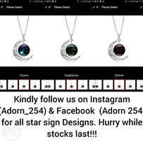 Necklaces star signs moon shaped lucky pendants in stock for all signs