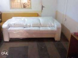 Exclusive all white leather 3 seater sofa