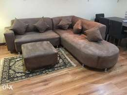 Suede 5 seater corner couch