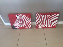 2x Zebra paintings