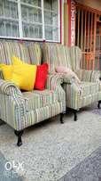 French high back armchair with pillows