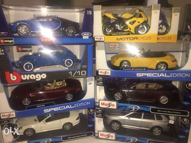 diecast motor cycle and cars 1/18