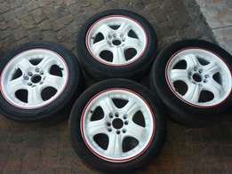 """15"""" 100/114 rims and tyres"""