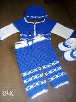 crocheted 4 pieces Cardigan set