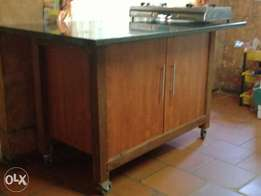 Handmade Kitchen trolley with solid wood formica granite top on weels