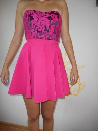 ca39e80800 kobieca sukienka AGNES M L wesele różowa fuksja rozkloszowana gorset  Zawiercie - image 2