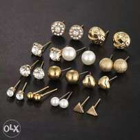 12 Pcs/Set Crystal Alloy Round Ball Gold Color Stud Earrings Vintage
