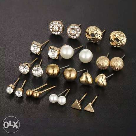 12 Pcs/Set Crystal Alloy Round Ball Gold Color Stud Earrings Vintage Lagos Mainland - image 1