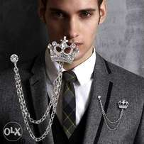 Men Crystal Crown Rhinestone Brooch