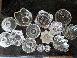 Glass candle holders, ashtrays and bowls