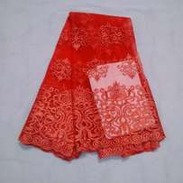 Pepper Red Embroidered And Stoned Lace - 4 Yards