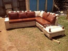 Cream and brown couch