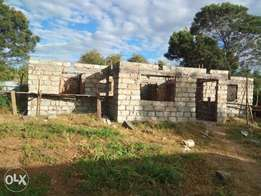 1/8 Plot on sale with three bedrooms house uncompleted at Kimumu chips