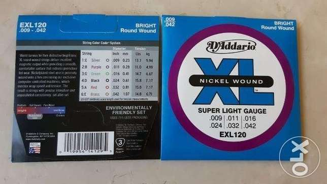 D'Addario EXL120 Nickel Wound Electric Strings, Free Delivery anywhere