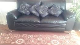 3 seater Black Leatherette Couch - R2200
