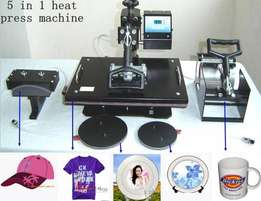 Automatic Heat press 5 in 1 for branding T-shirt/Mugs/Plates/Caps