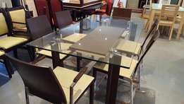 Wood & Glass Top Table & 6 Chairs