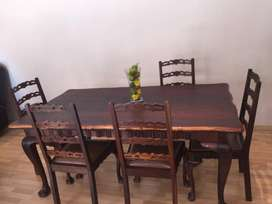 Beautiful Antique Imbuia Dining Room Table With 8 Matching Chairs