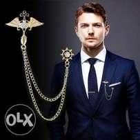 Men Angel Wings Tassel Chain Brooch