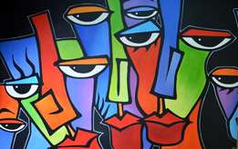 Colorful abstract faces - oil painting
