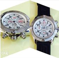 Breitling Black Leather Chronograph Timepiece