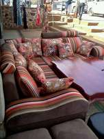 L sofa with throw pillows