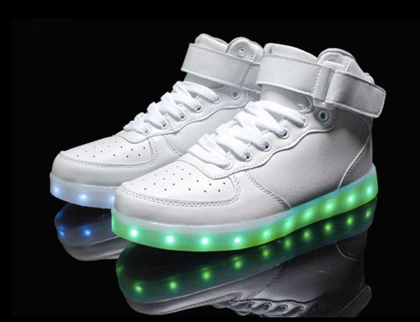 Buty świecące LED High Force Białe wysokie air za kostkę