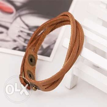 Slim Leather Buckle Bracelet Men fashion Bangles Ojo - image 4