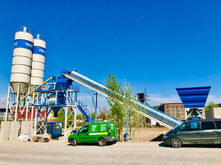 Promax-Star STATIONARY Concrete Batching Plant S100-TWN twin shaft mixer   100 m3/h