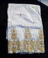 Embroidered and Beaded Mono White Indian Lace George with Blouse