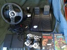 Playstation 2 Console with remote and Steering with pedals