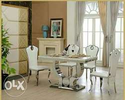 Cream marble dining by six with six chairs