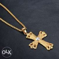 Gold Stainless Steel Chrome Diamond Cross with Box bead Chain