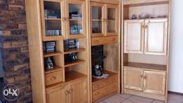 3pc wall unit with bar and wine cupboards.