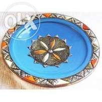 Imported Moroccan Light blue metal white and orange wall plate