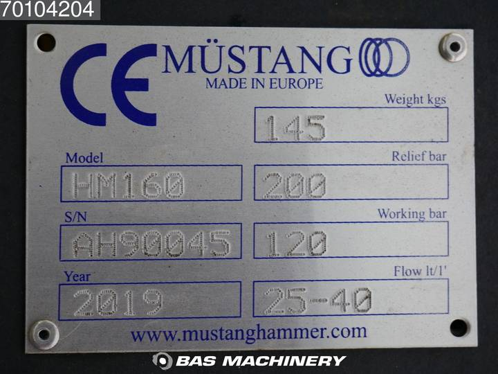 Mustang HM160 New hammer - suits mini excavator - 2019 - image 6