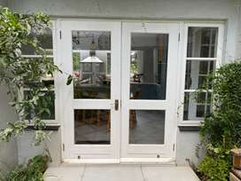 Painted Meranti Double doors & side windows