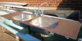 Stainless steel double bowl sinks x 2