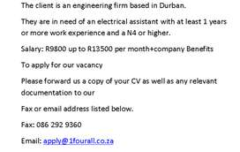 Electrical assistant with N4 or higher needed in Durban