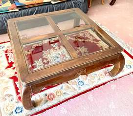 coffee table with 4x glass top and 2 side tables