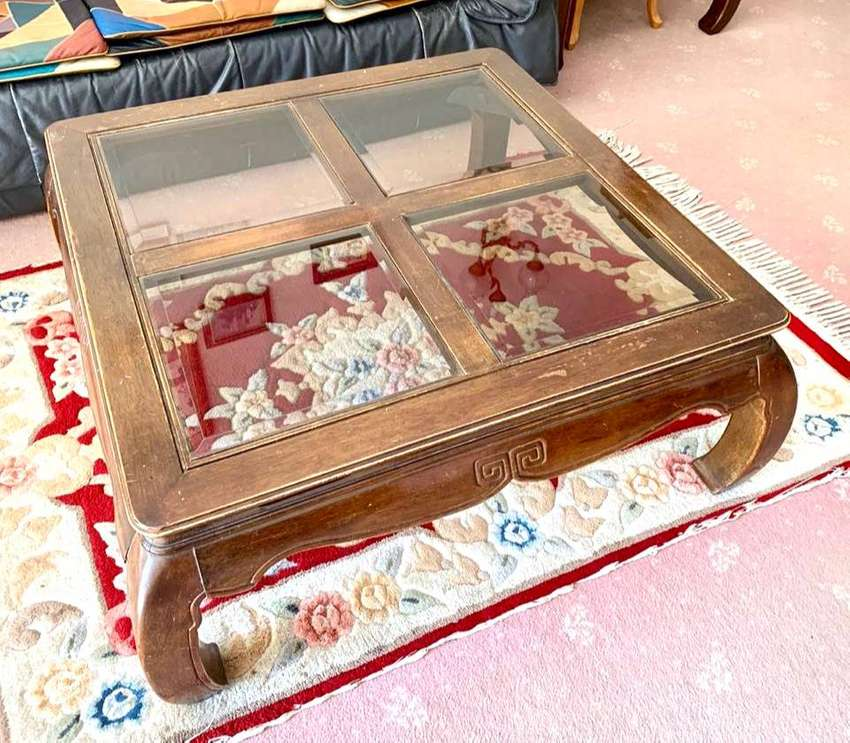 coffee table with 4x glass top and 2 side tables 0