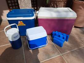 Set of three cooler boxed and cool drink holder