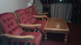 Solid Oak Lounge set + coffee Table for Sale